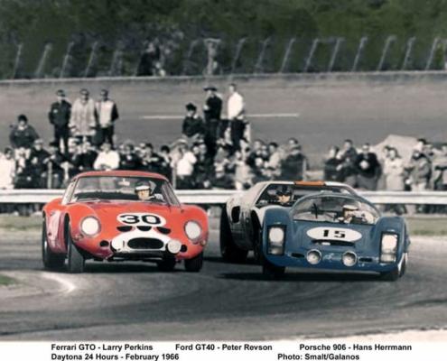 Battle between Larry Perkins and Hans Herrmann in Porsche 906 and Peter Revson in GT-40